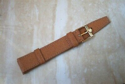 A VINTAGE UNUSED STOCK LEATHER OMEGA WATCH STRAP 16MM LUG ENDS C.1970,S • 95£