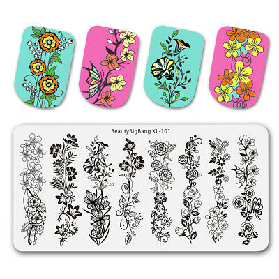 $5.39 • Buy Rectangle Nail Stamping Plates Flower Vine Pattern Nail Art Lace Stamp Templates