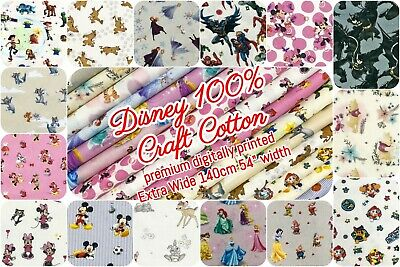 Disney 100% Craft Cotton Fabric 140cm Wide - Licensed Characters 17 Design Print • 5.35£