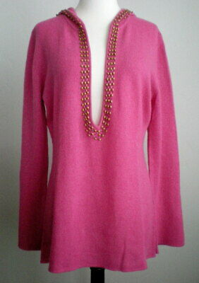 $27.92 • Buy Soft Surroundings M Cashmere Hoodie Sweater Tunic Beaded Deep V Neck Pink