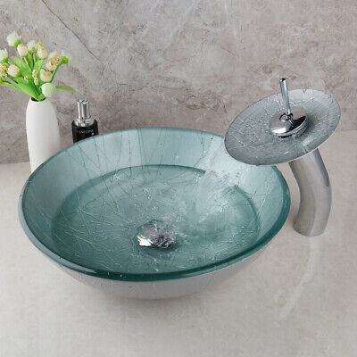 £78.99 • Buy UK Bathroom Round Basin Sink Bowl With Waterfall Spout Taps Mixer Overmount Kit