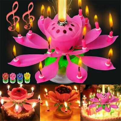 $ CDN3.06 • Buy 1*Musical Charming Lotus Flower Rotating Happy Birthday Party Gift Lights Candle