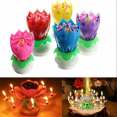 $ CDN5.54 • Buy NEW Musical Birthday Cake Candle Lotus Flower Floral Rotating Candle