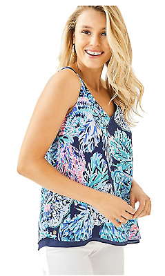 $49 • Buy NWT Lilly Pulitzer Florin Sleeveless Reversible Tank, High Tide Navy Party, Sz M