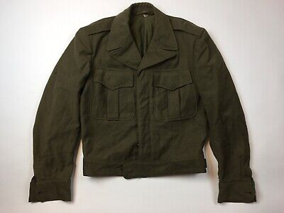 VINTAGE 1940's GREEN WOOL MILITARY JACKET Button Men's 34   • 35.10£