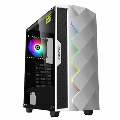 Game Max White Diamond ARGB Mid ATX Gaming PC Case Tempered Glass LED Fan • 43.44£