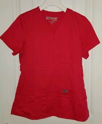 $6.99 • Buy GREYS ANATOMY SIGNATURE Barco Scrub Top Womens S Pink Watermelon Red Wrap V Neck