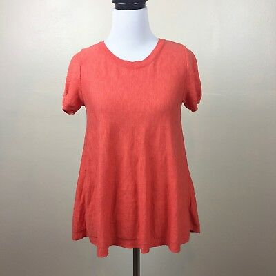 $ CDN9.12 • Buy Anthropologie Moth Sweater Top Size XS Orange Short Sleeve Crew Neck Button Back