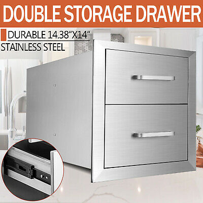 $118 • Buy 14 X14.38 X22.8  Outdoor Kitchen Stainless Steel Double Access BBQ Drawers USA