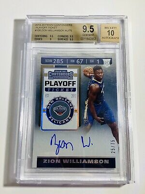 $3895 • Buy 2019-20 Contenders Playoff Ticket Zion Williamson Auto # /75 BGS 9.5 GEM MINT
