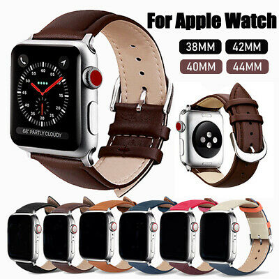 $ CDN6.22 • Buy For Apple Watch Series 5 4 3 2 Genuine Leather Band Strap Bracelet 38/42/40/44mm