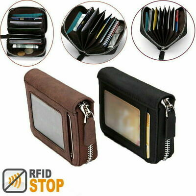 AU9.99 • Buy RFID Men's Leather Credit Card Short Wallet Holder Coin Zip Bag Antimagnetic