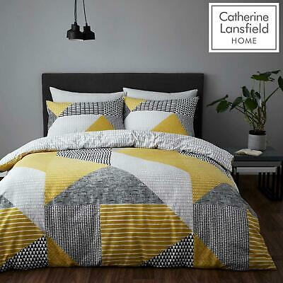 £14.95 • Buy Catherine Lansfield Larsson Geo Ochre Duvet Covers Grey Quilt Cover Bedding Sets