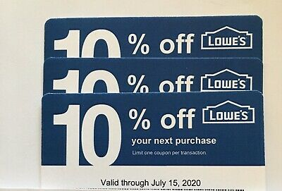 $3.99 • Buy 3-Lowe's Blue Card 10% Off For Home Depot+Other Comp Not Lowe's  Exp 07/15/20