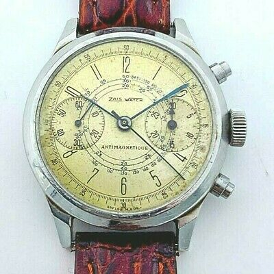 $ CDN324.05 • Buy Vintage Zais Watch Chronograph Wristwatch Spillmann Case 38mm Steel Valjoux 22