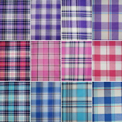 £5 • Buy Cotton Rich Fabric Checks Single Side Tartan Gingham Chequered 140cm Wide