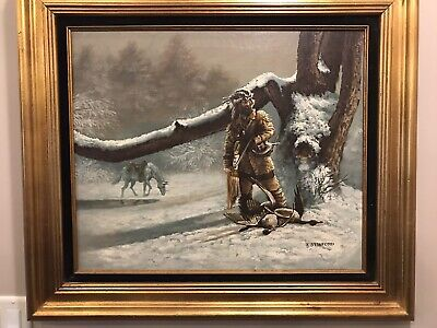 £212.24 • Buy Large Signed Oil Painting J. Stanford Frontiersman  Hunting With Horse. Framed