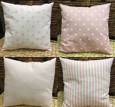 £6.95 • Buy Pink Cushion Covers,Love Hearts/Party Stripe/Spotty/Plain,40x40cm.Washable.