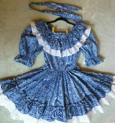 $44.99 • Buy Square Dance Dress 36 Bust Blue Floral, White Accent, Matching Tie 3/4 Slv