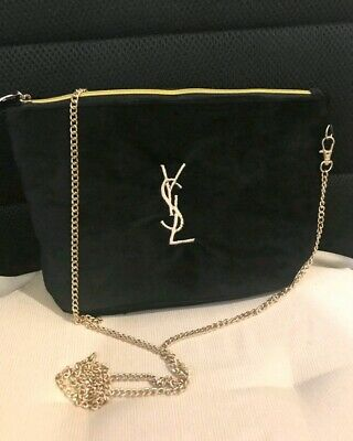 AU49 • Buy Brand New YSL Beauty Black Bag Velour Shoulder Gold Chain
