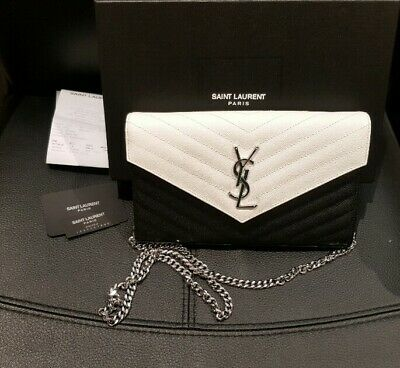 AU1050 • Buy Ysl Monogram Chain Wallet White And Black Cute And Pretty Authentic Bag