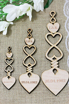 £1.99 • Buy Personalised Wooden Love Spoons Infinity Spoon Wedding Favour Table Decoration