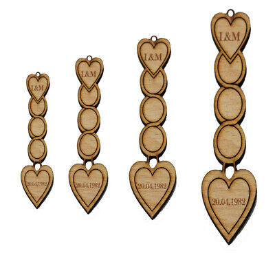 Personalised Wooden Love Spoons Heart Circle Vintage Wedding Favours Decoration • 3.49£