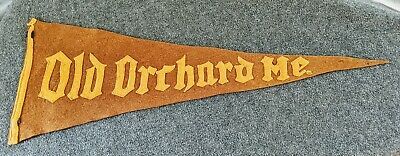 $39.95 • Buy Very Old Vintage SEWN ON LETTERS OLD ORCHARD Maine ME Felt Pennant See Pics