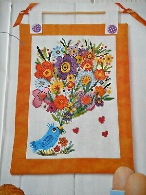 Bluebird With A Huge Bouquet Of Bright Flowers. Cross Stitch Chart • 1.20£
