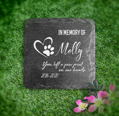 £7.45 • Buy Memorial Plaque For Pet Cat Dog Slate Stone Heart Paw Grave Marker Personalised