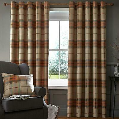 Catherine Lansfield Heritage Check Orange Eyelet Curtains Ring Top Curtain Pairs • 73.10£