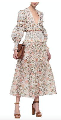 $621.60 • Buy ZIMMERMANN Shirred Floral Linen And Silk Midi Skirt US Size 4-6 Orig. $1595 NWT