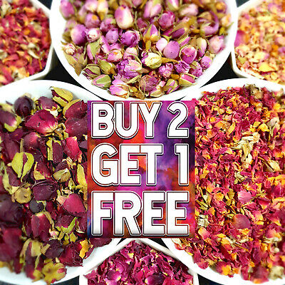 £2.99 • Buy Edible Dried Rose Petals Buds Flowers Craft, Soap Candle Cake Decor Tea Infusion