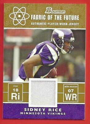 $4 • Buy 2007 Bowman Fabric Of Future Jersey Card SIDNEY RICE ROOKIE Vikings *FREE SHIP*