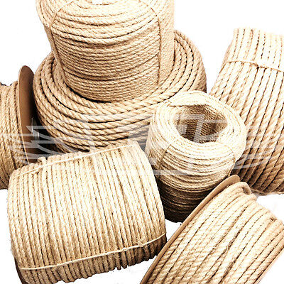 8mm NATURAL SISAL ROPE COILS FOR DECKING, GARDEN, CAT SCRATCHING POST PARROT • 2.99£