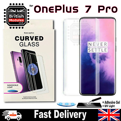 OnePlus 7 Pro UV Glue Nano Optics 3D 9H Curved Tempered Glass Screen Protector • 7.99£