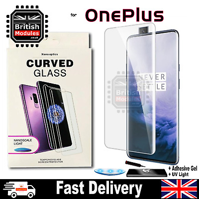OnePlus 7 7T Pro McLaren UV Glue Curved 9H Tempered Glass Screen Protector Nano • 7.99£