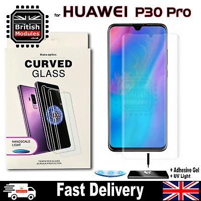 Huawei P30 Pro UV Nano Optics 3D 9H Curved Tempered Glass Screen Protector • 6.49£