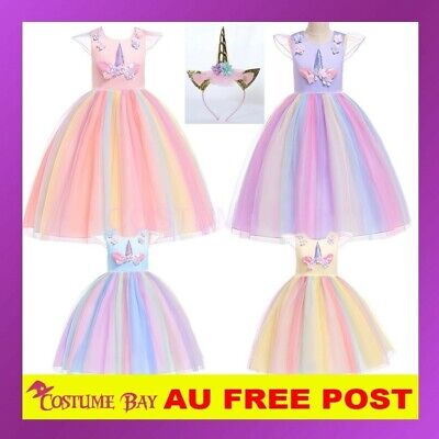 AU33.45 • Buy Kids Girls Flower Girl Unicorn Princess Dress Tutu Formal Wedding Birthday Party