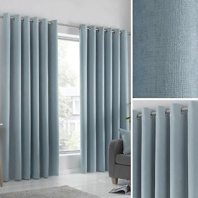 Duck Egg Eyelet Curtains Block-Out Thermal Ready Made Ring Top Curtain Pairs • 21.95£