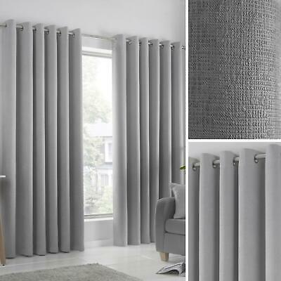 Grey Eyelet Curtains Silver Block-Out Thermal Ready Made Ring Top Curtain Pairs • 18.50£