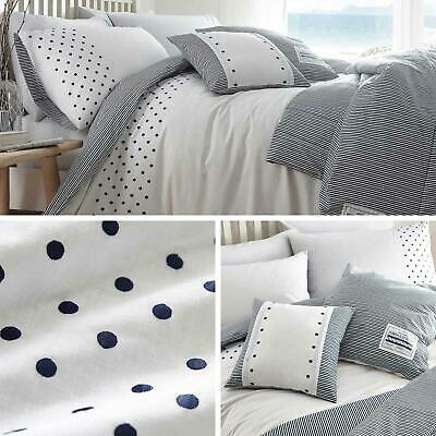 Navy Duvet Covers Polka Dot Stripe Reversible White Quilt Cover Bedding Sets • 11.95£