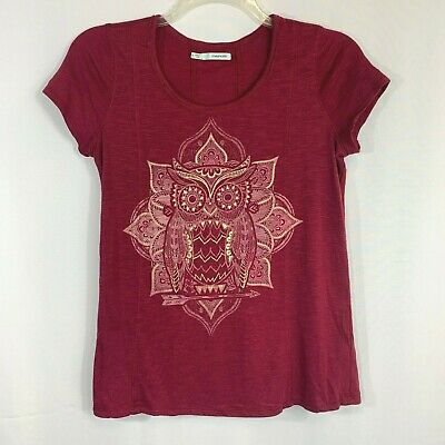 £6.51 • Buy Maurices Womens Top Short Sleeve Owl Print Maroon Gold Size M