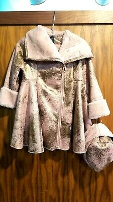 $49.99 • Buy New Gorgeous Boutique Mack & Co Rose Gold Fur Lined A Line Coat/hat,girls 8,NWT