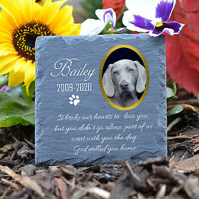 Personalised Pet Memorial Plaque Cat Dog Paw Photo Slate Tombstone Grave Marker • 9.95£