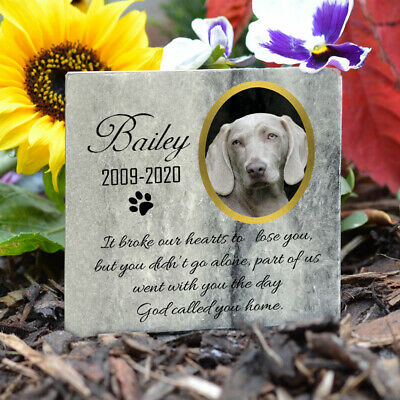 Pet Memorial Plaque Cat Dog Paw Photo Grave Marker Real Grey Marble Personalised • 10.45£