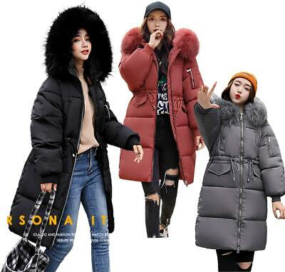 Womens Faux Fur Trim Hooded Midi Cotton Down Puffer Parka Winter Coat • 22.99£
