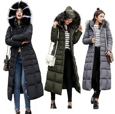 Womens Faux Fur Trim Hooded Padded Maxi Parka Winter Coat • 27.79£