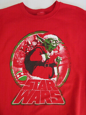 $14.99 • Buy YODA Santa Claus Sweatshirt Mens L Star Wars Ugly Christmas Sweater Red Baby