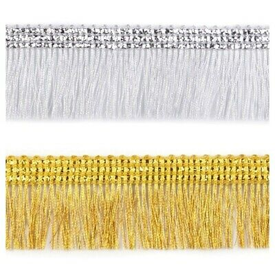 £1.99 • Buy 3cm Gold / Silver Metallic Chainette Fringe Trimming Sewing Crafts Edging...